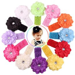 Wholesale Crochet Headbands Wholesale Free Shipping - 12 Color Baby Chiffon crochet headhand Christmas Colorful Floral Elastic Peony flower Hairband hairbow Accessorie free shipping