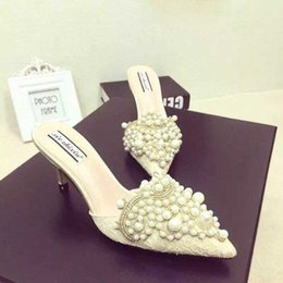 Wholesale White Pearls Lace Wedding Slippers - 8cm Heels 2017 Summer In South Korea With Socialite Pearl Lace Diamond Tip Baotou Cool High-heeled Slippers