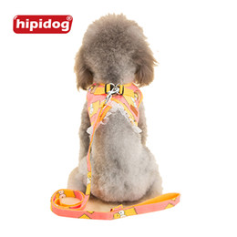 Wholesale Chest Collar Dogs - Hipidog Cartoon Printed Lace Vest Harness Leash Set Mesh Padded Vest Apparel Costume Strap Chest Leads Set for Small Dog Pet Cat
