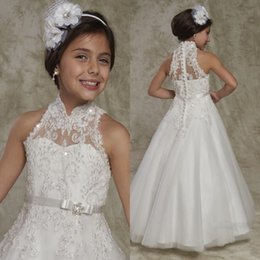 Wholesale Girls Line Pagent Dresses - new pagent dress for girl white a-line elegant appliques high neck sexy back zipper cover button lace flower girl dress vestidos