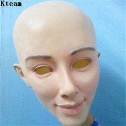 Wholesale Sexy Female Masks - Realistic Female Mask For Halloween Human Female Masquerade Latex Party Mask Sexy Girl Crossdress Costume Cosplay Mask