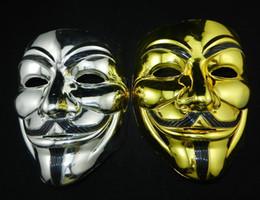 2019 gold jungs Großhandel 2016 heißer Verkauf Mode hohe Qualität PVC V für Vendetta Guy Fawkes Gold und Silber Maske anonyme Halloween-Kostüm Cosplay günstig gold jungs