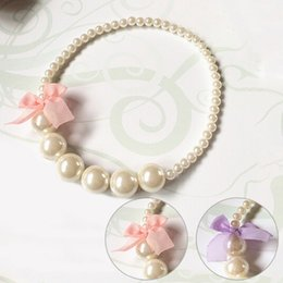 Wholesale Chain Wholesale Girls Dresses - Wholesale- Classic Lace Bowknot Imitation Pearls Chain Necklaces for Kids Baby Girls Princess Dress Accessories Charm Jewelry Children Gift