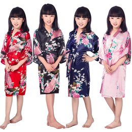 Wholesale Japanese Yukata Costumes - Wholesale- E1686 new Child Novelty Cosplay Floaral Dress Japanese Baby Girl Kimono Dress Children Vintage Yukata Kid Girl Dance Costumes