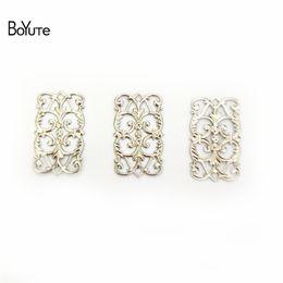 Wholesale 25mm Flower Beads - BoYuTe 100Pcs 7 Colors 15*25MM Vintage European Charms DIY Brass Jewelry Materials Filigree Flower Pendant Charms