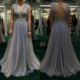 Wholesale Cheap Plus Evening Dresses - 2017 Silver Plus Size Prom Dresses Deep V-Neck Backless Beaded Tulle Celebrity Party Dresses Evening Wear With Sash Cheap Red Carpet Dresses