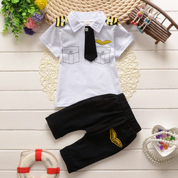 Wholesale Boy Set Fake - Brand new tie fake pocket full cotton Summer boy clothing sets Tshirt and pants two pieces four colors free shipping
