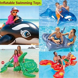 Wholesale Inflatable Mount - Inflatable Floats Pool swimming Float Toy children adult animals mount Inflatable Water Toy Flamingo Swan shark whale turtle Pool Float z008
