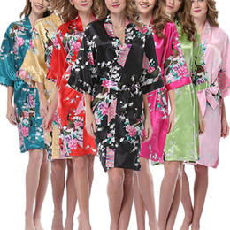 Wholesale Kimono Peacock - Women's Kimono Robe Peacock and Blossoms Silk Nightwear Peacock Kimono Robe Short Sleeve Silk Bridal Robe Long Short Style S-3XL
