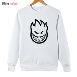 Wholesale Pink Zombie - Wholesale- 2017 new men Pullover sweatshirt SPITFIRE WHEELS Skateboard Zombie Flaming Head Logo Plus Size