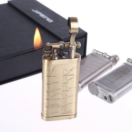 Wholesale Steel Lighters - Wholesale-Retro copper steel material kerosene Men's cigarettes lighter,Vintage oil lighter grinding wheel JF003