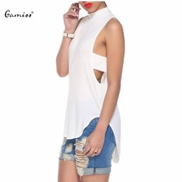 Wholesale Sexy Goth Punk - Wholesale-Punk Goth Hollow Out Women T Shirt Hip Hop Vented Split Asymmetric Casual Backless Sleeveless Sexy Bandage Shirt 1649992