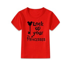 Wholesale Neck Lock - baby summer t-shirts cotton classic tee shirt children baby lock up your princesses tops letter pattern shirts tees red short sleeve clothes