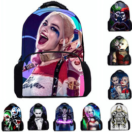 Wholesale Backpack Felt - Top Quality 17inch Felt Backpack Suicide Squad Harley Quinn Teenager Kids School Bag Bookbags Laptop bags boys girls outdoor travel rucksack