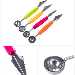 Wholesale Steel Ice Cream Scoop - Stainless Steel Double-End Multi Function Fruit Melon Baller Carving Knife Ice Cream Scoop Spoon Kitchen Tools AEA0002