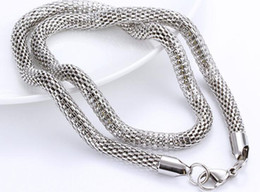"Wholesale wholesale net china - Diameter 2MM 2.5mm 3mm 4mm 5mm 6mm 316L Stainless Steel Silver Steel Round Net Mesh Chain Necklace (18""-22"" inches)"