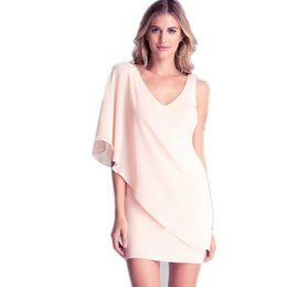 Wholesale Solid Color Twill Fabric - Women V-Neck Slim Summer Dress Asymmetric Style Voile Fabric One-Shoulder Ruffles Sleeve Solid Color Ladies Elegant Dresses