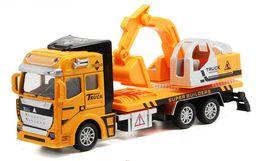 Wholesale Toy Models Cars Trucks - Alloy toy excavator models model children's toy car self-discharging truck Concrete Mxier Truck excavator
