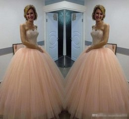 Wholesale Quinceanera Dresses Red Bling - Bling Blush Pink Quinceanera Dresses New Sexy Sweetheart Ball Gowns Tulle Long Beautiful Prom Evening Gowns Dress for Party Wear