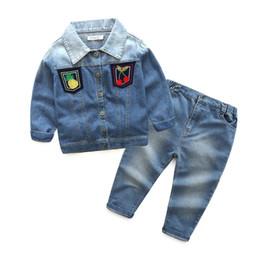 Wholesale Denim Jackets Toddler - wholesale 2016 kids boys Fruit Denim clothes baby 2 pieces clothing toddler autumn winter sets children jacket jeans suit TZ928