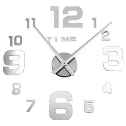 Wholesale Large Decorative Mirrors - Wholesale-New Wall Clock Clocks Watch Horloge Murale Diy 3d Acrylic Mirror Large decorative Home Quartz Circular Needle Modern