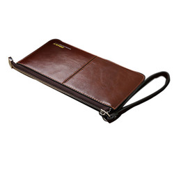 Wholesale Center Holder - Wholesale- Brand men's wallet Zipper genuine leather purse Clutches wallets phone bag ID card holder coin purses Pockets Clutch Center
