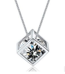 Wholesale Cube Element - High quality Lover Rubic Cube Square Stone Pendant Necklace Copper Chain Necklace Fashion Class Women Girls Lady swarovski elements Jewelry