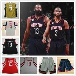 Wholesale Gray Basketball Jersey - 2017 New Hot #3 Chris Paul Jersey Cheap College #13 James Harden Red White Gray Black Basketball Jersey Shorts Dream Team Drak Blue