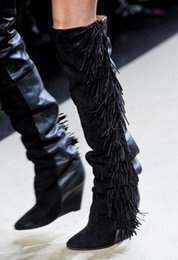 Wholesale Boots Celebrities - Celebrity Women Fringed Knee High Suede Leather Weadge Boots Heigh Increasing Spring Autumn Tassel Women Sexy Motorcycle Boots