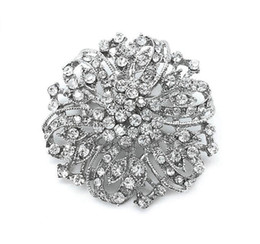 Wholesale Celtic Brooch Bouquet - Vintage Silver Clear Rhinestone Crystal Beautiful Large Party and Bouquet Brooch