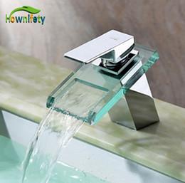 Wholesale Bathroom Vessel Faucet Glass - Wholesale- Chorme Bathroom Waterfall Vessel Sink Faucet Deck Mount Mixer Tap With Glass