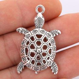 Wholesale Antique Turtle Pendant - Wholesale- 2pcs 39x24mm Antique Silver Alloy Turtle Charms Pendant Jewelry Findings For Jewelry Making Necklaces Bracelets DIY