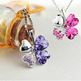 Wholesale Wholesale Irish Charms - 10piece Lucky Four Leaf Clover Heart Pendant Necklace Irish Shamrock Charm Crystal Chain
