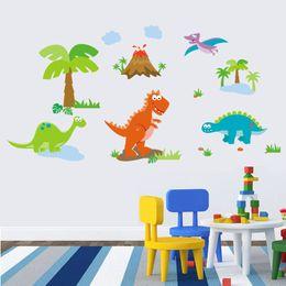 Wholesale Blue Tree Wall Decals - Cartoon Dinosaur Coconut Trees Wall Stickers Kids Room Boys Girls Nursery Wall Decor Poster Stegosaurus Pterosaur Wall Graphic