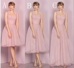 Wholesale Hot Pink Ruffled Bridesmaid Dress - Cheap Pink Tulle Bridesmaid Dresses V Neckline Sleeveless Pleats Kelseyrose 2017 Hot Sale Wedding Guest Dress