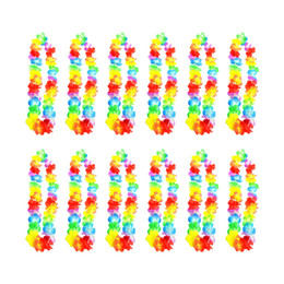 Wholesale Fun Necklaces - Wholesale- 12pcs lot hawaii lei Luau Party Supplies Garland Necklace Colorful Fancy Dress Party Hawaii Beach Fun