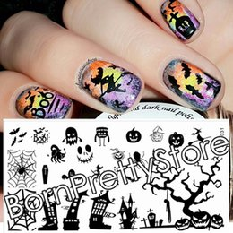 Wholesale Nail Stamp Halloween - Wholesale- Halloween Theme Nail Art Stamping Plates Nails Stamp Template Image Plate DIY Set BORN PRETTY BP-L031 12.5 x 6.5cm # 23267
