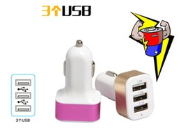 Wholesale Car Charger 3in1 - 3in1 3.1A double USB car charger suitable for most smart phone use SAMSUNG S6 S7 HTC LG NOKIA HUAWEI