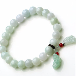 Wholesale Jade Dragon Beads - 100% A Grade Natural Jade Jadeite 7mm Beads String Bracelet Carved Dragon Son Pixiu 1PCS