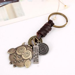 Wholesale Cute Butterfly Keychain - Pameng New Fashion Cute Animal Owl Key Chains Punk Giraffes Butterfly Key Ring Elephant Skull Keychain Leather Jewelry