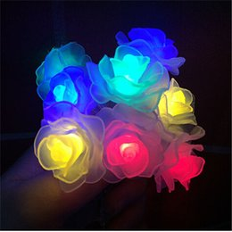 Wholesale Colorful Led Rose Light - Wholesale-Free Shipping 6M 40 LED Colorful Fairy String Light Battery Operated Rose Styled Christmas Partys Wedding New Year Decorations
