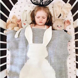 Wholesale Cute Quilts - Cute Rabbit Knitted Baby Blanket Bed Sofa Sleeping Mat Quilts Bath Towels Play Mat 2 Types Monolayer With Velvet Blanket