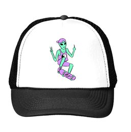 Wholesale Trucker Caps For Women - Wholesale- alien skateboard Print Baseball Cap Trucker Hat For Women Men Unisex Mesh Adjustable Size Tumblr Drop Ship M-122