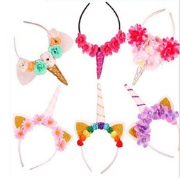 Wholesale Filler Flowers - Christmas hair sticks unicorn horn headband with wig braids Party dressing up cosplay flower crystal hairbands XMAS filler bag