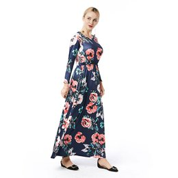 Wholesale Custom Print Canvas - Women Clothes Casual Dresses Beauty Garden 2017 New Fashion Print Summer Spring Autumn Folk-custom Dress Solid Casual Vintage Dresses