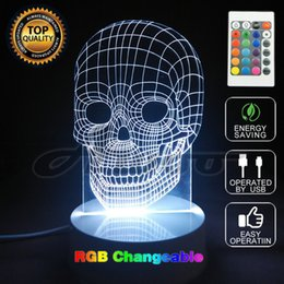 Wholesale Night Smile - Creative Xmas Gift 3D Glow Party Decor Lamp Skull Remote Control Pumpkin Alien LED Night Lamp Novelty USB Jack Smile Night