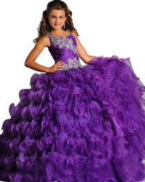 Wholesale Turquoise Dresses Kids - applique beautiful purple glitz pageant dress for girls size 8 12 long prom corset puffy ball gown kids turquoise party dresses