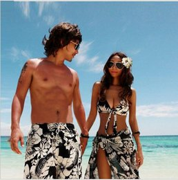 Wholesale Couples Swimwear - Hot Sale Couple Plus Size Print Bikinis Set New 2015 Brand Swimwear Women Sexy Push Up Swimsuit Vintage Top+Bottom+Dress Beachwear Men