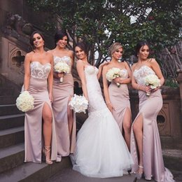 Wholesale Mermaid Prom Dresses For Sale - 2017 Hot Sales High Side Split Bridesmaid Dresses For Garden Wedding Appliqued Sweetheart Mermaid Prom Dress Wedding Party Gown Sweep Train