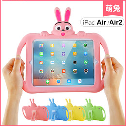 Wholesale Skin Waterproof Mini Ipad - Cute Rabbit Shockproof Kids Handle EVA Rugged Proof Non-toxic Safe Foam Case Cover For Apple iPad 6 (air 2)